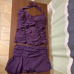 Flattering Purple Land's End Tankini/Skort Suit